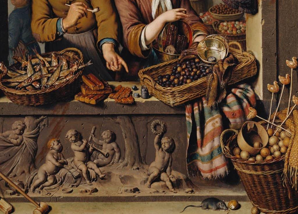 Willem van Mieris. El puesto de ultramarinos (detalle), 1732. Óleo sobre panel. Copyright The Royal Collection Trust, UK.