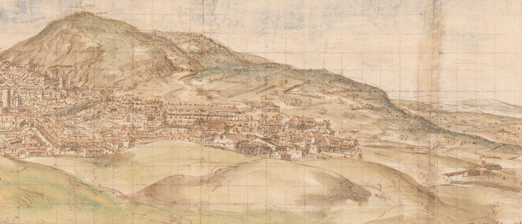 Van den Wyngaerde, Anton. Cuenca desde el Oeste (detalle Cerro Molina), 1565. Pluma, tinta y aguadas de color. Viena, Nationalbibliothek.
