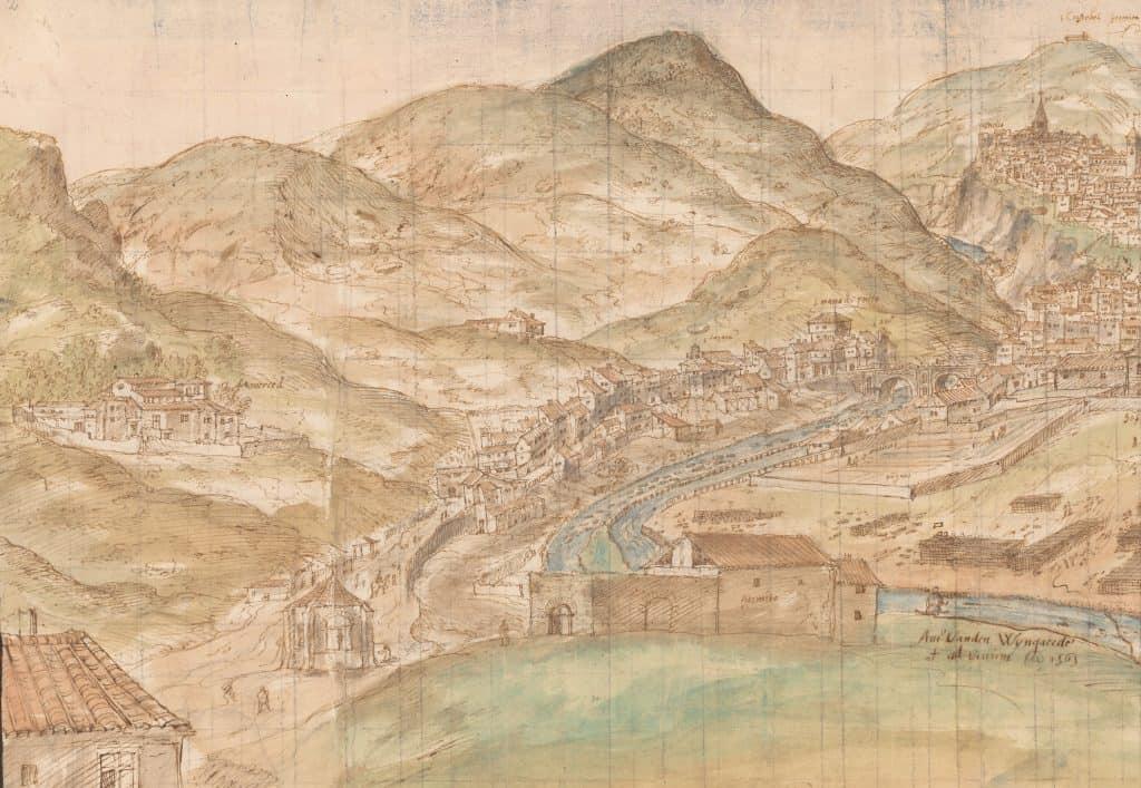Van den Wyngaerde, Anton. Cuenca desde el Oeste (detalle zona San Antón), 1565. Pluma, tinta y aguadas de color. Viena, Nationalbibliothek.