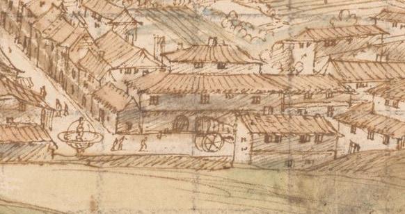 Van den Wyngaerde, Anton. Cuenca desde el Oeste (detalle carro), 1565. Pluma, tinta y aguadas de color. Viena, Nationalbibliothek.